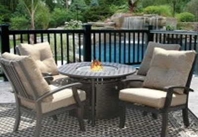 6d172e1759a BARBADOS CUSHION FIRE PIT OUTDOOR PATIO 5PC DINING SET FOR 4 PERSON WITH  42