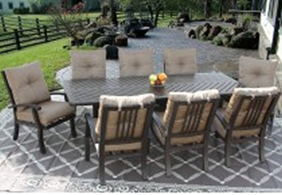 barbados cushion outdoor patio 9pc dining set for 8 person with 44x86